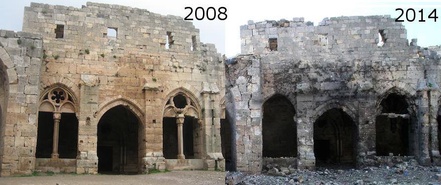 Fassade des Rittersaals des Krak des Chevaliers 2008 und 2014 / Bilder: Burgerbe/Protect Syrian Archaeology