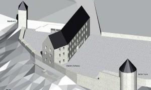 Der Neubau an der Stelle des Plauener Schlosses neben den historischen Schloss-Türmen / Grafik: Land Sachsen