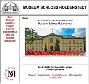 Homepage des Museums Schloss Holdenstedt / Bild: Screenshot