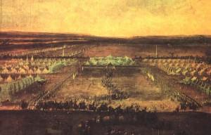"""Das """"Lustlager bei Zeithain"""": Den besten Blick hatten die gekrönten Häupter von Schloss Promnitz / Bild: gemeinfrei"""