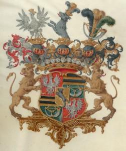 Wappen der Schlossbesitzer-Familie von Wolffersdorff / gemeinfrei