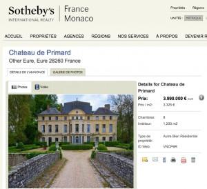 Das Deneuve-Chateau de Primard wird bei Sotheby's International Realty zum Kauf angeboten / Bild: Screenshot