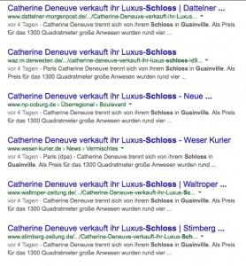 Alles eine Sauce: Online-Artikel zum Deneuve-Schlossverkauf. / Bild: Screenshot