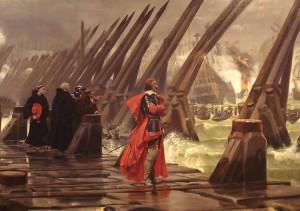 Kardinal Richelieu auf seine Damm vor La Rochelle / Public Domain
