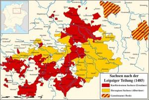 Sachsen nach der Leipziger Teilung. Gelb: Albertiner, Rot: Ernestiner / Karte: Wikipedia / Sir Iain
