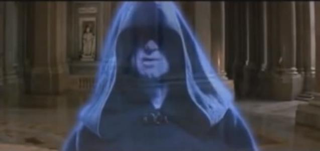 Star-Wars-Drehort Palazzo Reale in Caserta: Der böse Palpatine, angehender Imperator, ruft per Hologramm im besetzten Naboo-Palast an. Im Hintergrund: Italienischer Barock / Foto: Screenshot Youtube
