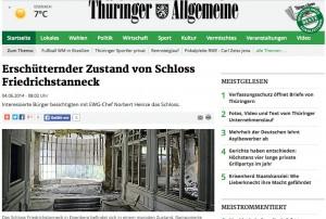 Die Thüringer Allgemeine berichtet über Schloss Friedrichstanneck