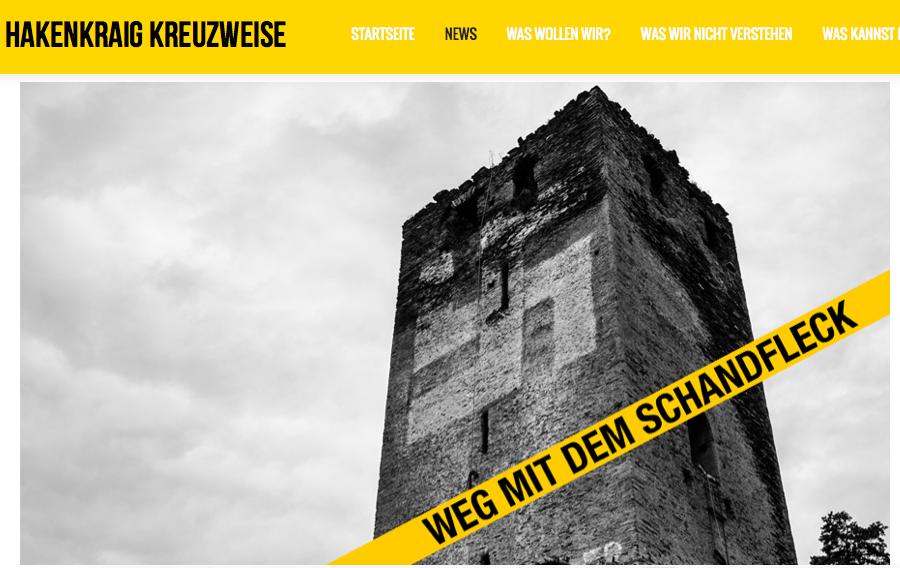 Seite der Online-Initiative gegen das Hakenkreuz an der Kärtner Burg Hochkraig / Foto: Screenshot