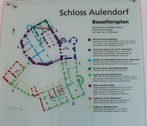 Diese Tafel zeigt die Baugeschichte von Schloss Aulendorf (Anklicken zum Vergrößern)