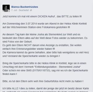 """Dieser Aufruf zur Kamera mit den Bildern von """"Sternenkind"""" Josha wurde von mehr als 33.000 Facebook-Nutzern geteilt / Foto: Screenshot"""