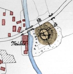 Lageplan der Überreste von Burg Wahrenholz, die Anfang des 20. Jahrhunderts noch sichtbar waren / Foto: gemeinfrei