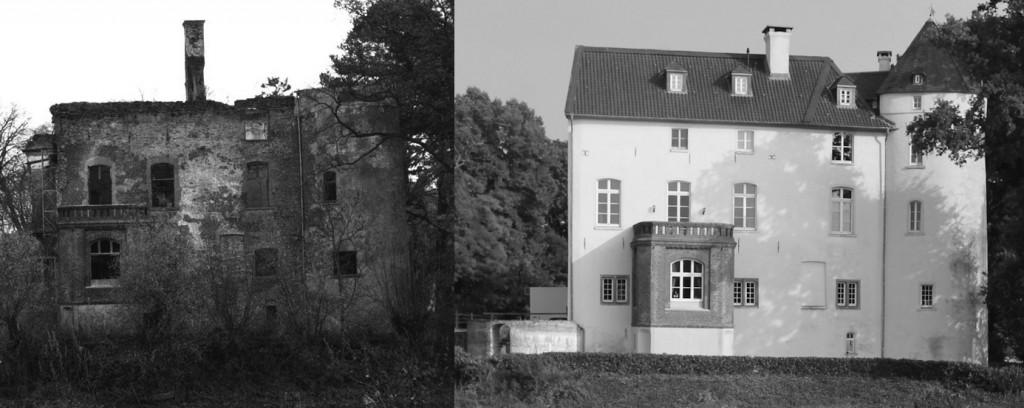 Burg Boetzelaer 1997 vor der Sanierung und heute (Bild links von  Lex vB, CC-BY-SA 3.0/Bild rechts: Burgerbe.de)
