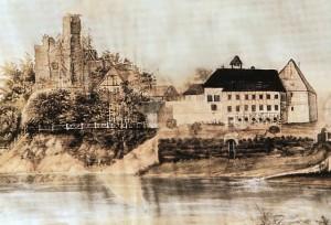So sahen Schloss / Burg Wölpe noch 1823 aus / Bild: gemeinfrei.