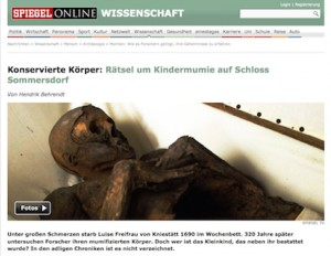 Auch Spiegel-Online berichtete über die Mumien-Gruft von Schloss Sommersdorf... Foto: Screenshot