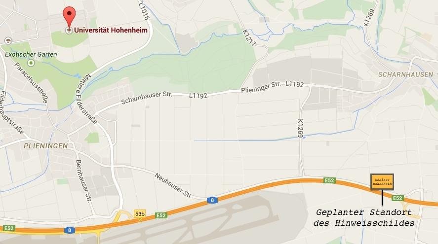 Der geplante Standort des Schloss Hohenheim-Autobahnschildes / Karte: Googgle Maps