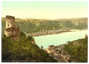 Die Ruine von Burg Katz vor dem Wiederaufbau 1896 / Foto: Gemeinfrei