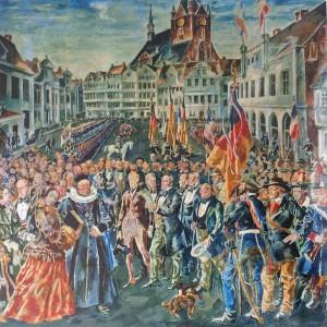 Gemälde von August Deusser (1917): Ausrufung der Provisorischen Regierung von Schleswig-Holstein, 24. März 1848. Wikipedia / Ws-KuLa / CC-BY-SA 3.0