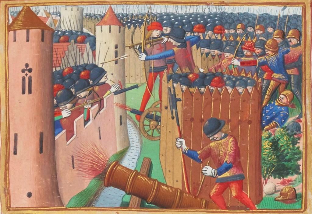 Die Belagerung von Orlean 1423: Kanone im Einsatz. Bild: gemeinfrei