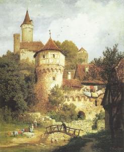 Württembergische Idylle: So sah Burg Möckmühl um 1870 aus / Ölgemälde von Karl Weysser / gemeinfrei