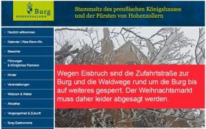 Eisbruch: Die Burg Hohenzollern-Homepage warnt vor dem Betreten der Wege zur Burg / Bild: Screenshot