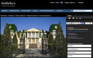 """Das Wasserschloss wird im Online-Katalog von """"Sotheby's"""" angeboten / Bild: Screenshot"""