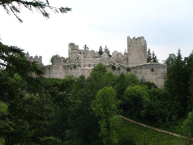 Die mustergültig sanierte Ruine der Burg Hohenfreyberg / gemeinfrei