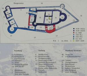 Mehrfaches Wachstum: Plan vom Ausbau der Burg / gemeinfrei