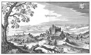 Schloss Schwarzenberg im 16. Jahrhundert nach einer Merian-Karte / gemeinfrei