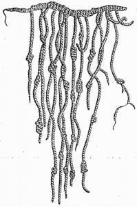 Eine Knotenschnur der Inka: Die Bedeutung der Knoten ist heute vergessen. Bild: Gemeinfrei