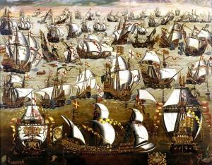 Die spanische Armada im Kanal. Englische Propaganda-Darstellung aus dem 16. Jahrhundert / gemeinfrei