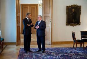 Barack Obama bei Joachim Gauck auf Schloss Bellvue / Foto: gemeinfrei