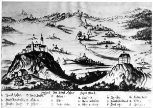 Burg Ranis (links) und Schloss Brandenstein (rechts) auf einer Zeichnung von 1725 / Bild: gemeinfrei