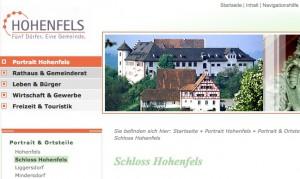 Der Ort Hohenfels wirbt auf seiner Homepage mit dem Schloss / Bild: Screenshot von www.hohenfels.de