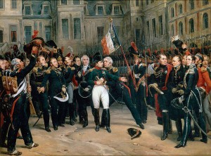April 1814: Nach seiner Abdankung verabschiedet sich Napoleon vor Schloss Fontainebleau von seiner Garde / Foto: Gemeinfrei