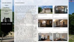 Die Homepage von Schloss Gröbitz zeigt weitere Fotos / Screenshot