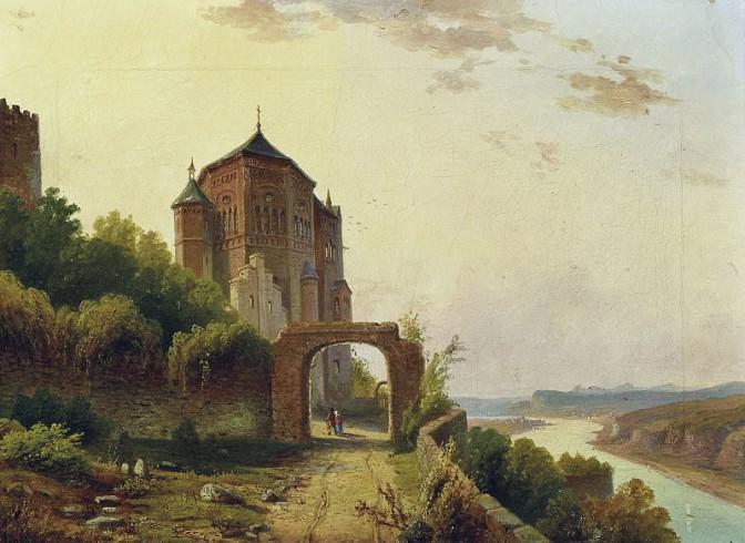 Burg Rheineck aus der Sicht eines Künstlers der Düssledorfer Malerschule im 19. Jahrhundert / gemeinfrei