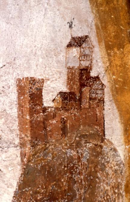 Burg Hohenstaufen auf einem Fresko aus Göppingen von 1470 / Bild: gemeinfrei