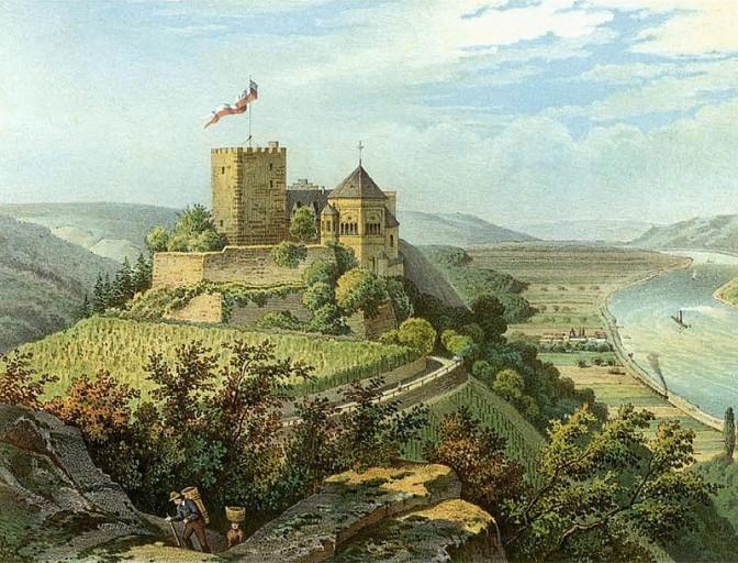 Die von Bethmann-Hollweg nach 1832 wieder aufgebaute Burg / Foto: Sammlund Duncker / gemeinfrei