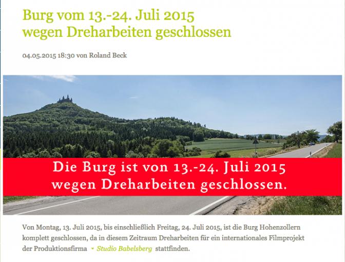 Hinweis auf der Burg Hohenzollern-Homepage / Bild: Screenshot