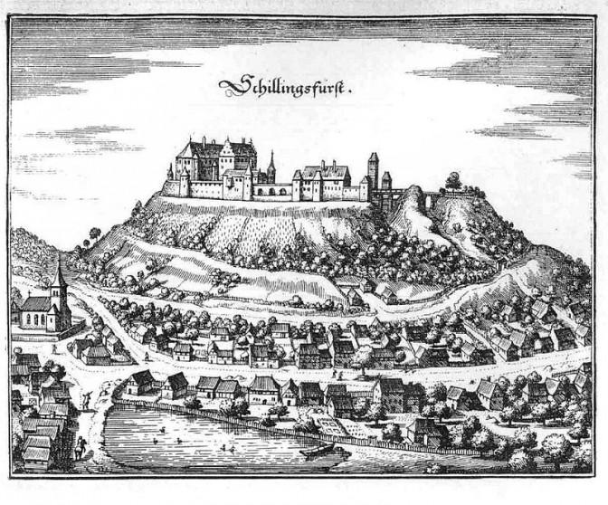 Schloss Schillingsfürst um 1656 / Bild: Merian / gemeinfrei