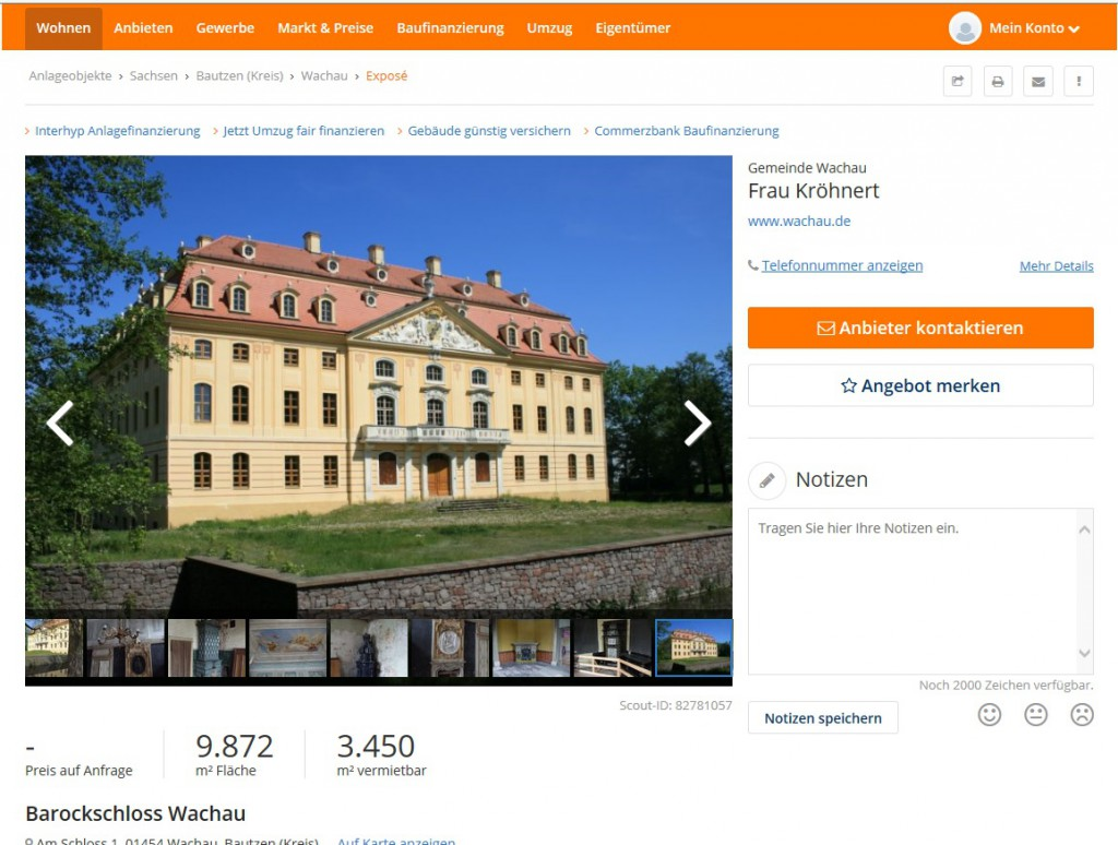 Anzeige bei ImoScout zum Barockschloss Wachau / Foto: Screenshot