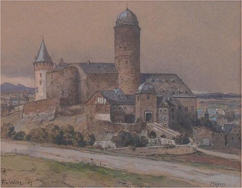 Die Genovevaburg 1907, Aquarell von Fritz von Wille / gemeinfrei