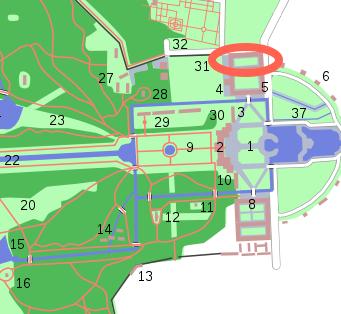 Es geht um den rot markierten Trakt neben der Gärtnerei und dem historischen Gewächshaus / Bild: Openstreetmap