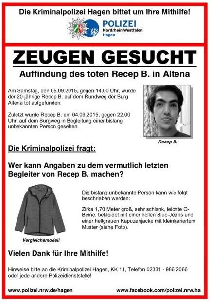 Mit diesem Plakat sucht die Polizei nach Zeugen / Foto: Polizei Hagen
