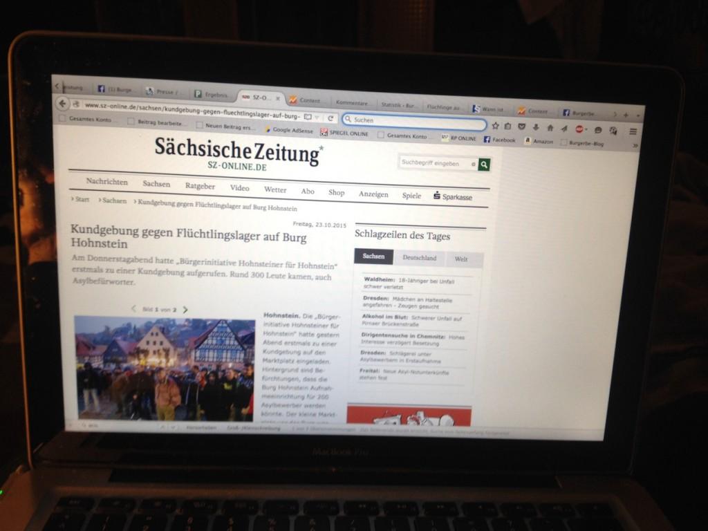 Die Sächsische Zeitung berichtet über eine Kundgebung der Hohnsteiner Bürgerinitiative / Bild: Bildschirm mit der Seite http://www.sz-online.de