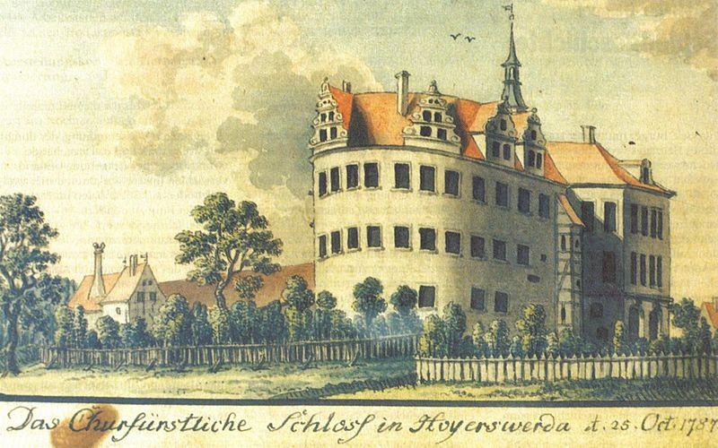 Das Schloss im Jahr 1787 / Bild: gemeinfrei / Foto oben: Wikipedia / SeptemberWoman / CC-BY-SA 3.0