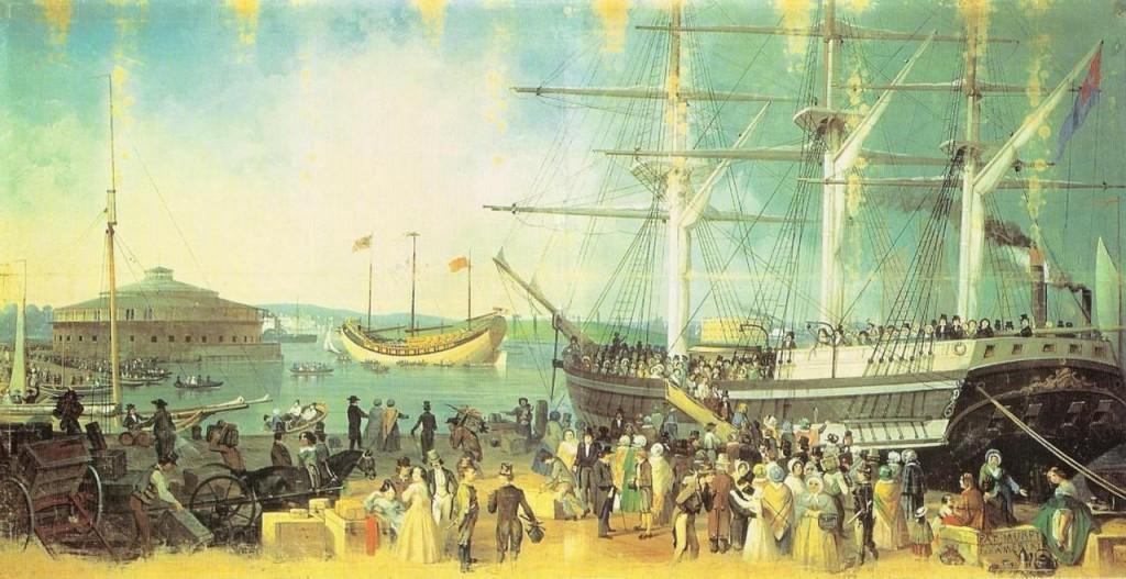 Castle Clinton 1848: Durch einen breiten Weg mit Manhattan verbunden, aber noch seeseitig im Wasser / gemeinfrei