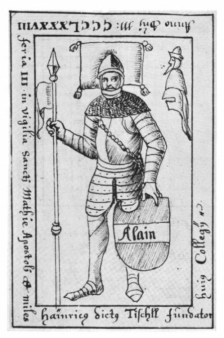 """Der Grabstein des """"Ritter Alain"""" nach dem """"Grabsteinbuch"""" des Bischofs Eckher von Freising (1649-1727) / Bild: gemeinfrei"""