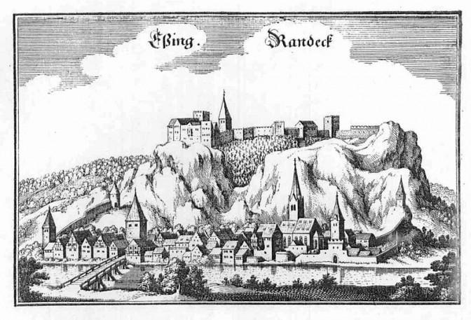 Burg Randeck über Essing um 1660 / Bild: Merian / gemeinfrei