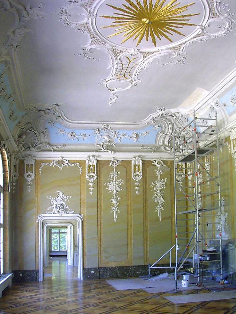Schloss Schönhausen: Oberer Saal während der Renovierung / Foto: gemeinfrei